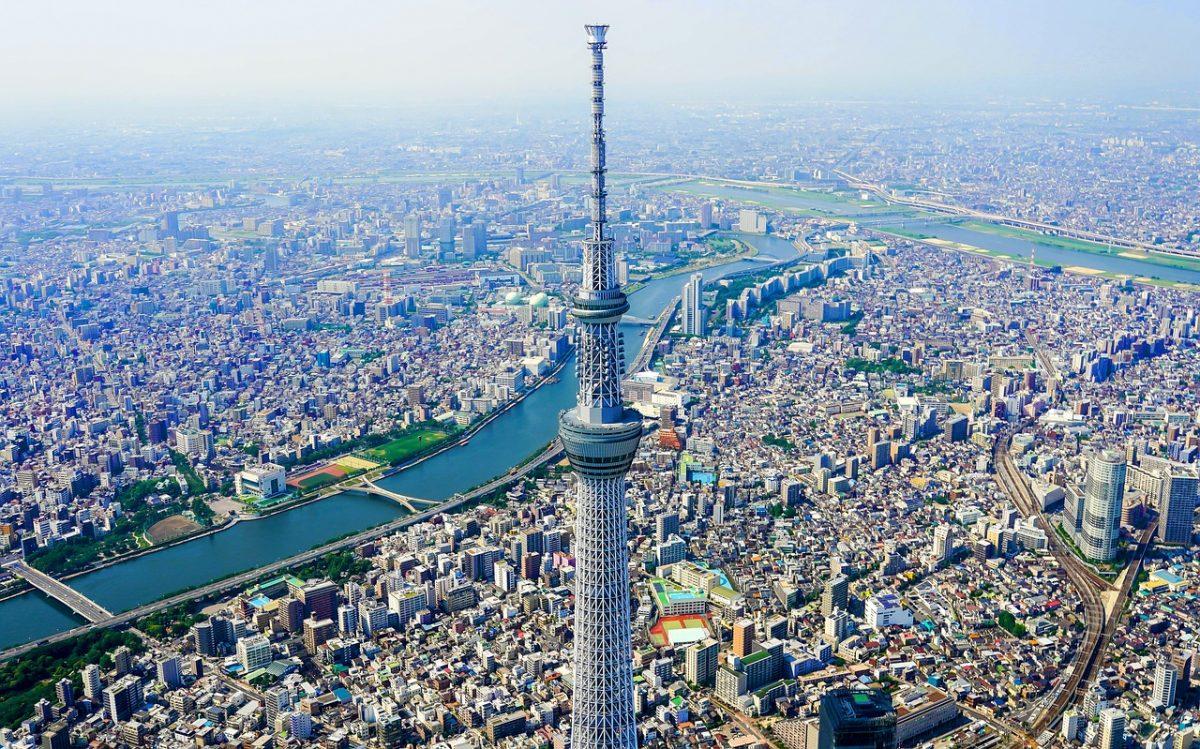 東京スカイツリーやビル群を上から撮った写真